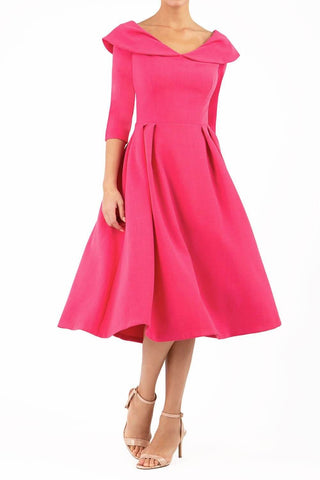 Chesterton Swing Dress in fuchsia pink