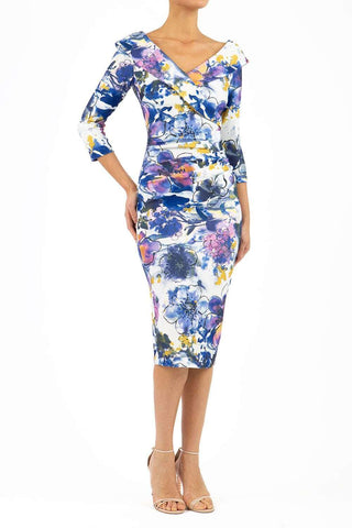 Eliza 3/4 Sleeve Print Dress in Abstract Orchid