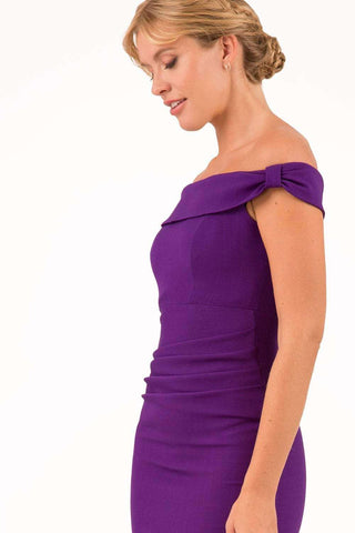 Cloud Luxury Moss Crepe Dress in deep purple