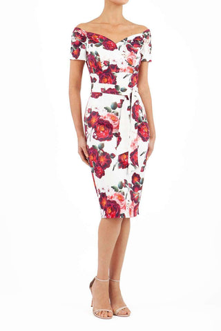 Manderley Stretch Satin Print Dress in rose print