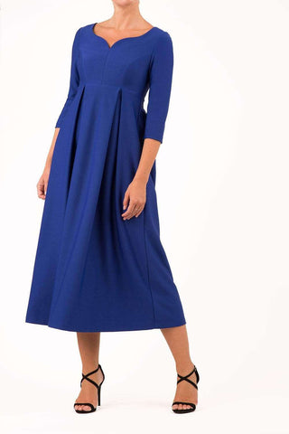 Diva seaton midi swing dress in cobalt blue