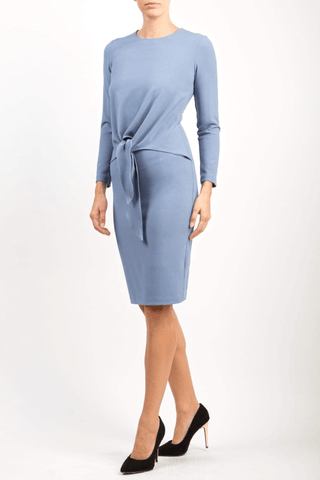 Millbrook Tie Dress in stone blue