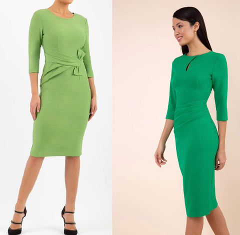 green pencil dresses