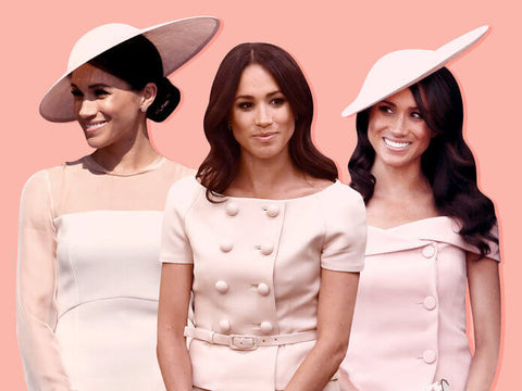 three images of Meghan Markle in blush toned dresses