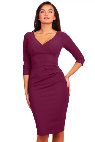Jemima Pencil Dress in wine red