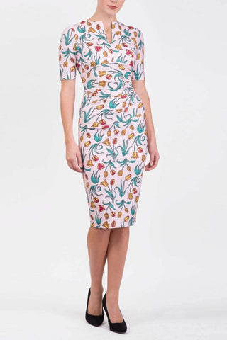 Lydia printed pencil dress in linear tulip