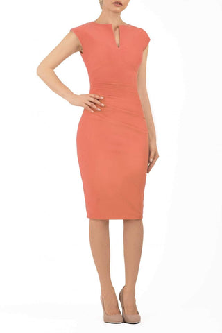 Lydia sleeveless pencil dress in sea coral colour