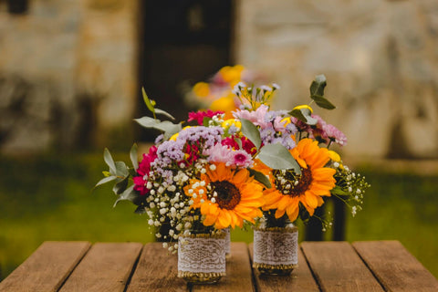 colourful flowers, sunflowers, bouquet