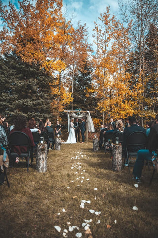 wedding in the woods in Autumn