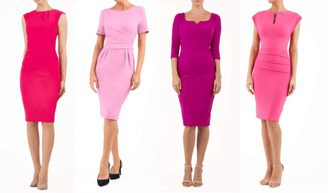 4 pink diva catwalk pencil dresses