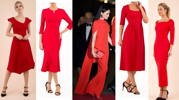 4 red diva catwalk pencil dresses and an image of meghan markle in a similar red dress