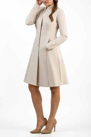 seed raquella coat, pocketed, panelled knee length coat