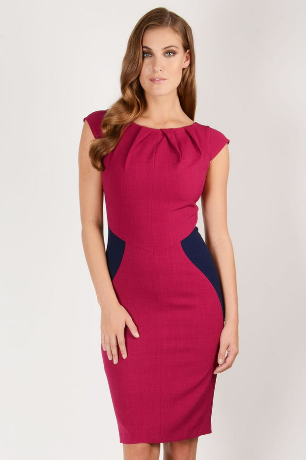 Annabelle Pleated Neckline Dress