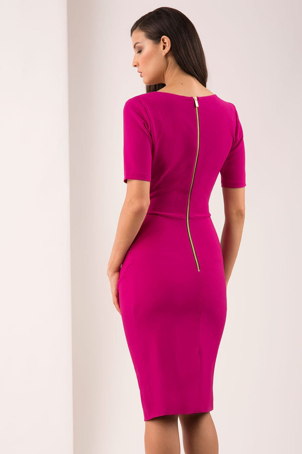 A brunette Model is wearing a wrap pencil dress by Diva Catwalk iin magenta in back