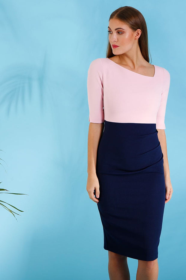 Assymetric neckline colour block baby pink and navy  pencil dress by Diva Catwalk