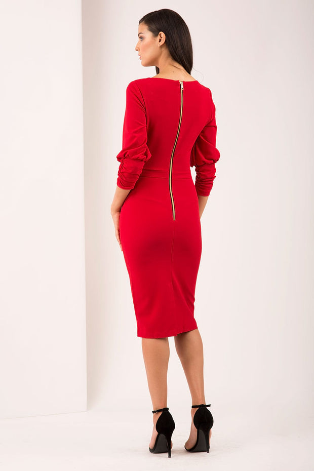 Ruched sleeve detail pencil dress by diva catwalk in red back image