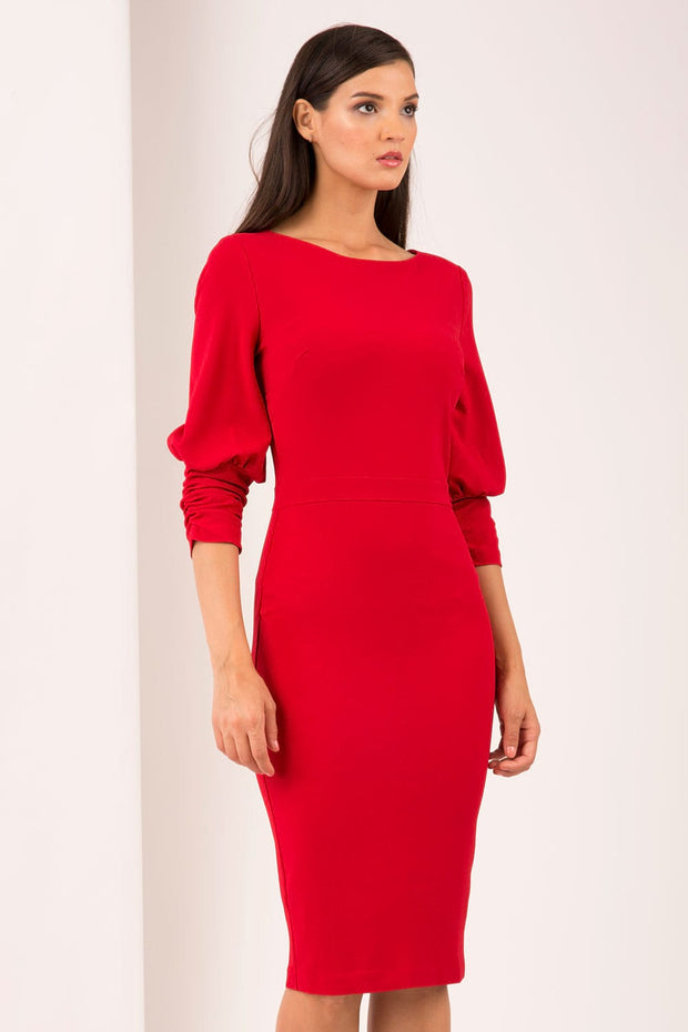 Ruched sleeve detail pencil dress by diva catwalk in red front image