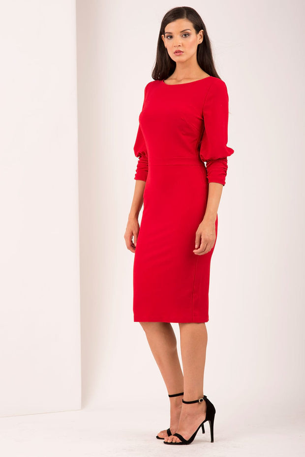 Ruched sleeve detail pencil dress by diva catwalk in red front
