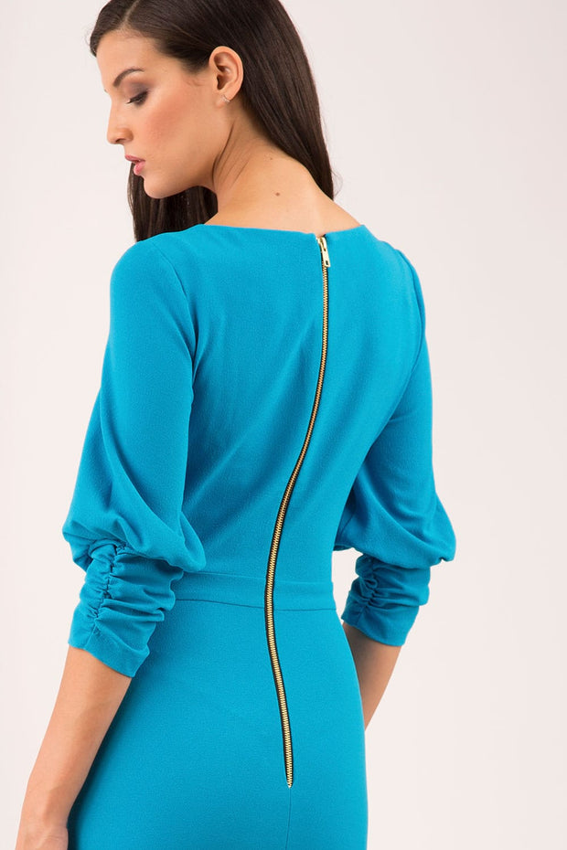 Ruched sleeve detail pencil dress by diva catwalk in turquoise back