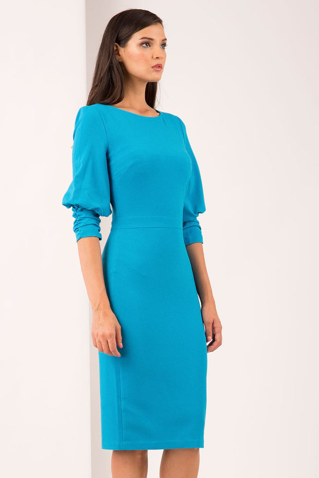 Ruched sleeve detail pencil dress by diva catwalk in turquoise front image