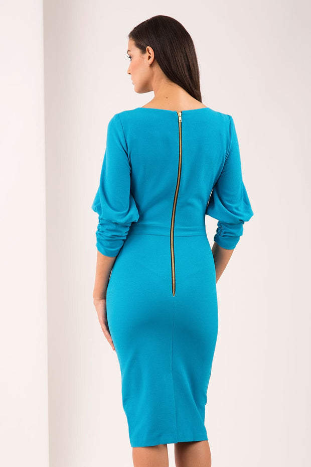 Ruched sleeve detail pencil dress by diva catwalk for turquoise back image