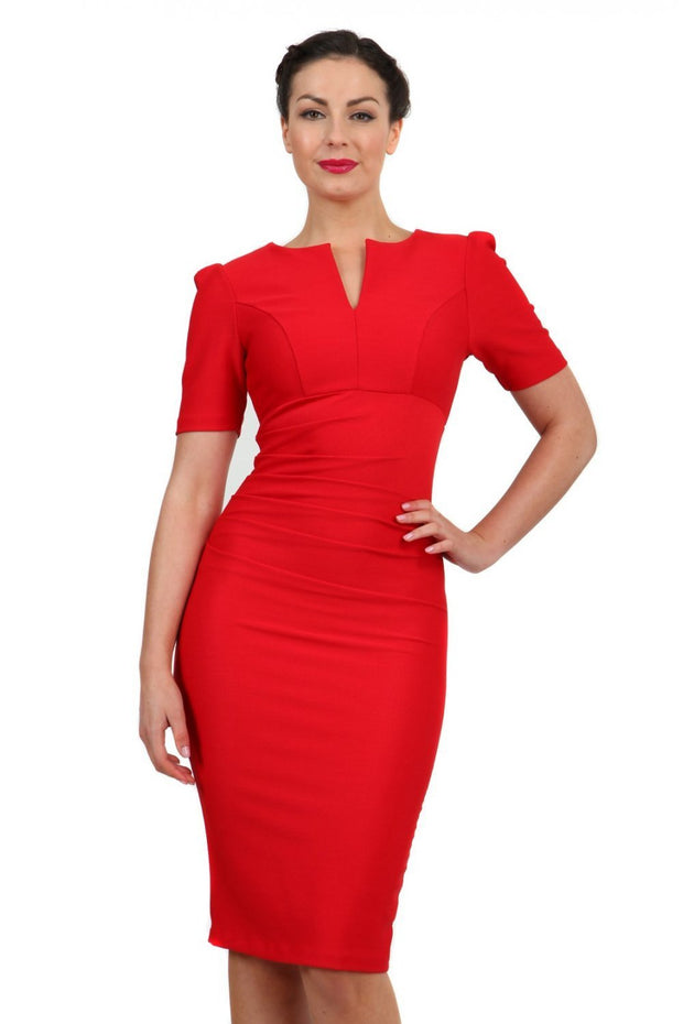 Model wearing pencil short sleeve seed fitzrovia dress front image