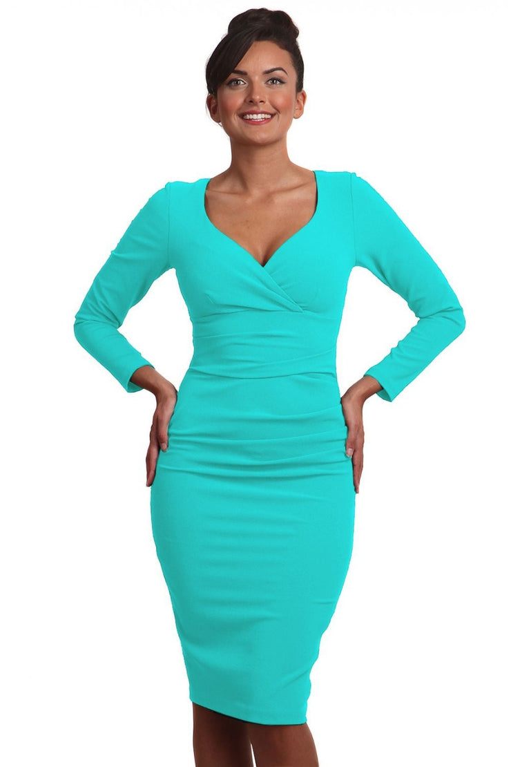 Model wearing the Diva Cynthia Pencil dress with pleating across the front in celeste blue front image