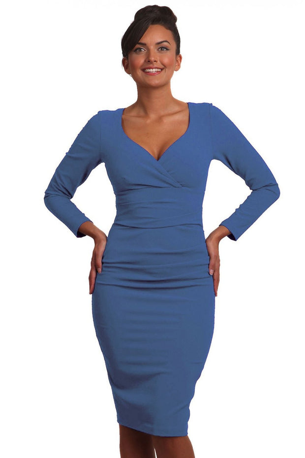 Model wearing the Diva Cynthia Pencil dress with pleating across the front in dutch blue front image