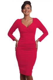 Model wearing the Diva Cynthia Pencil dress with pleating across the front in honeysuckle pink front image