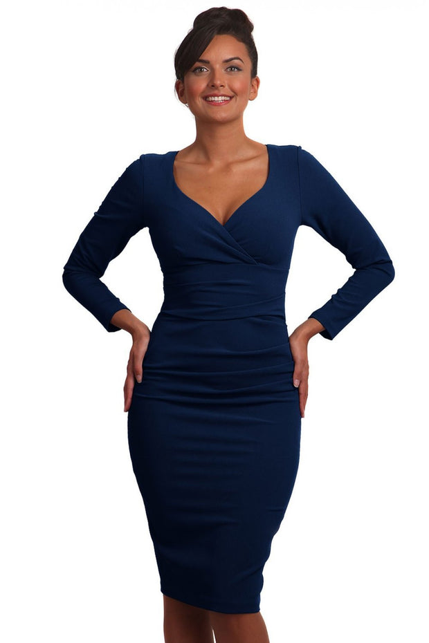 Model wearing the Diva Cynthia Pencil dress with pleating across the front in navy front image