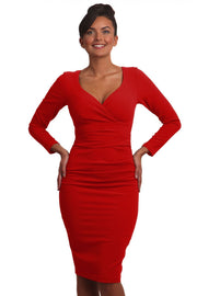 Model wearing the Diva Cynthia Pencil dress with pleating across the front in scarlet red front image
