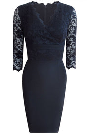 Model wearing the Diva Ivana Lace dress in pencil dress design in navy blue front image
