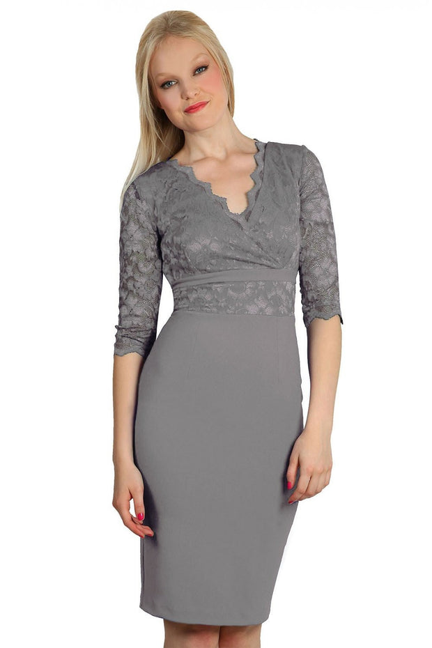 Model wearing the Diva Ivana Lace dress in pencil dress design in frost grey front image
