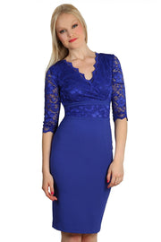 Model wearing the Diva Ivana Lace dress in pencil dress design in riviera blue front image