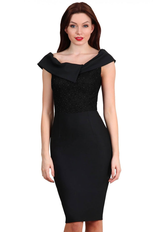 brunette model wearing diva catwalk marni fitted pencil skirt dress bardot neckline and contrasting bust area in black and black front