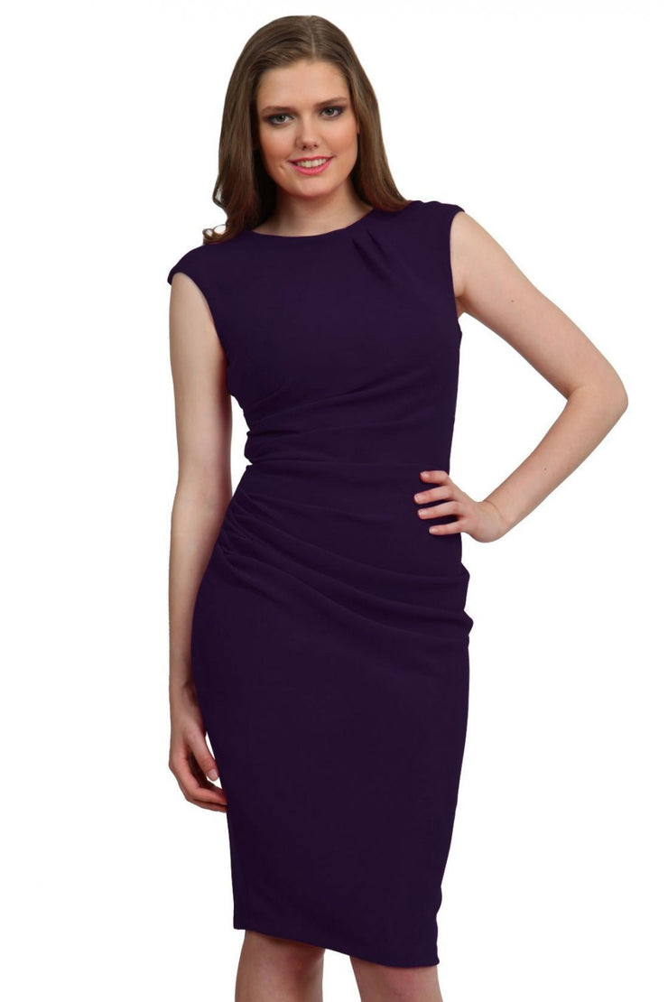 Model wearing the Diva Carla Pencil dress in ribbed super stretch fabric in crown jewel front image