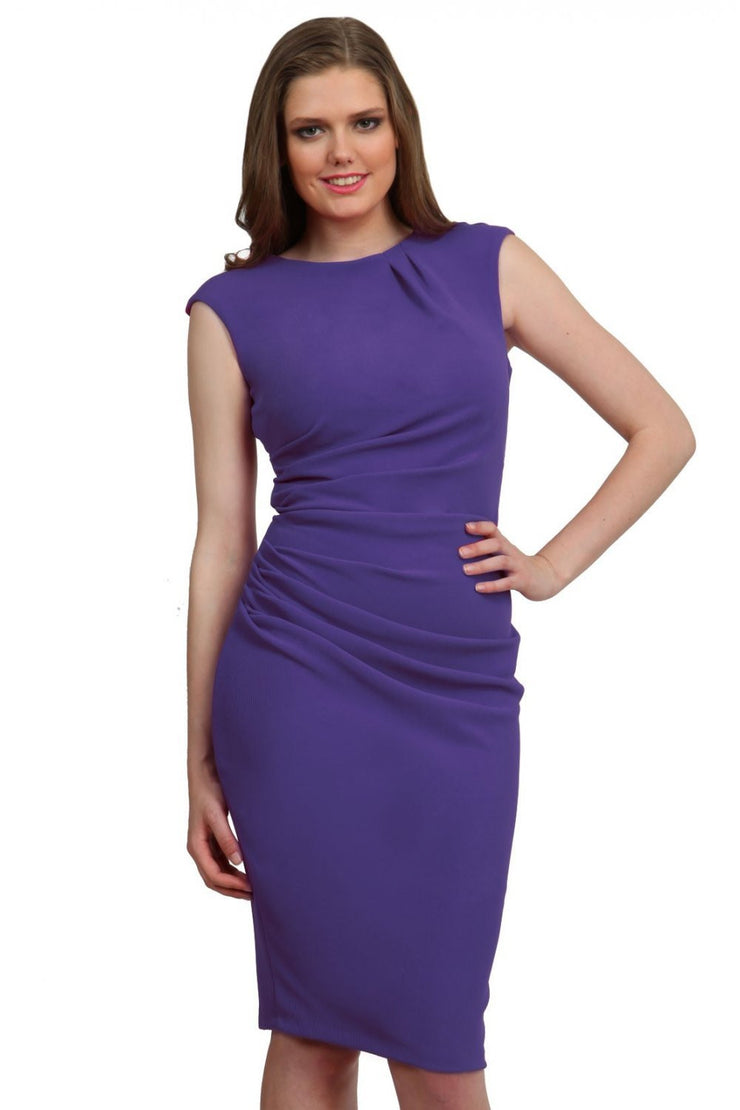 Model wearing the Diva Carla Pencil dress in ribbed super stretch fabric in indigo blue front image