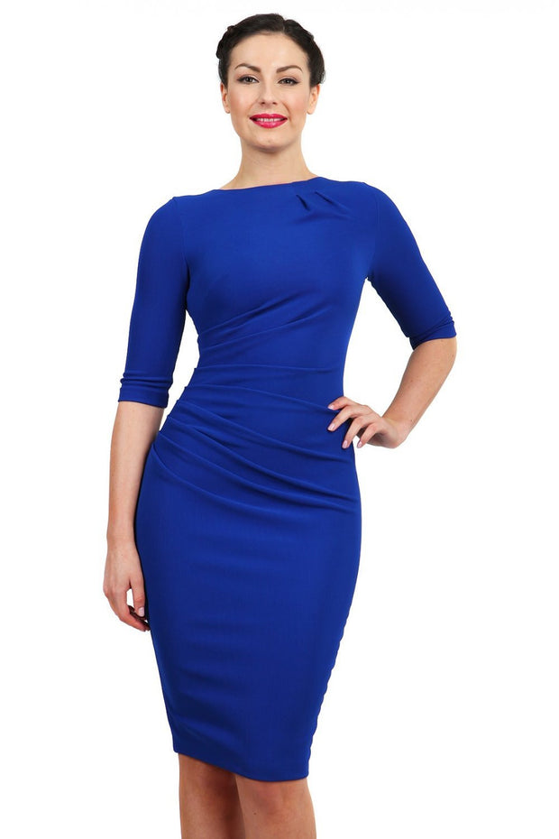 Model wearing the Diva Carlotta Pencil dress with pleat detail at the neckline and across the front in cobalt blue front image