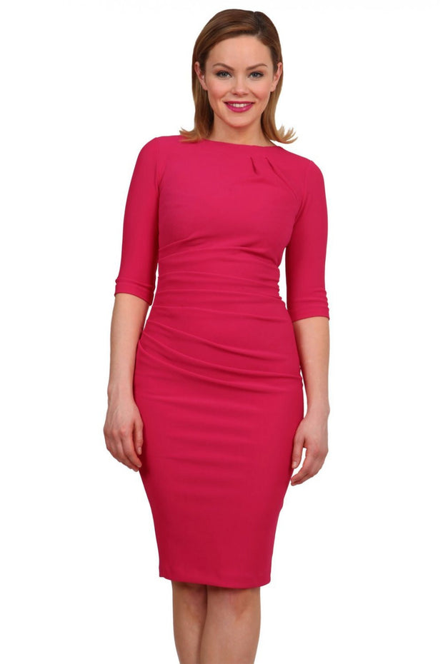 Model wearing the Diva Carlotta Pencil dress with pleat detail at the neckline and across the front in virtual pink front image