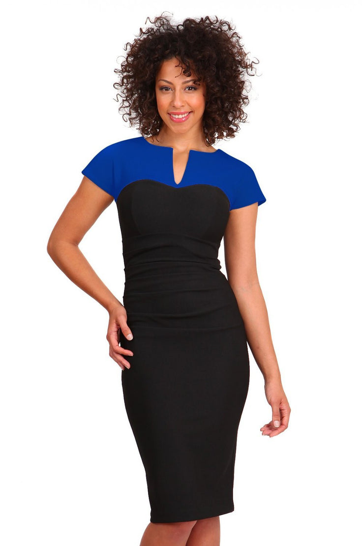 Model wearing the Diva Bryony Contrast dress with contrasting top and exposed zip at the back in black and cobalt blue front image
