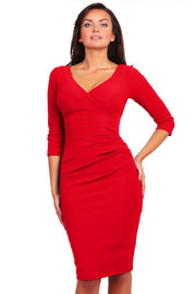 Model wearing the Diva Jemima dress in pencil dress design in true red front image