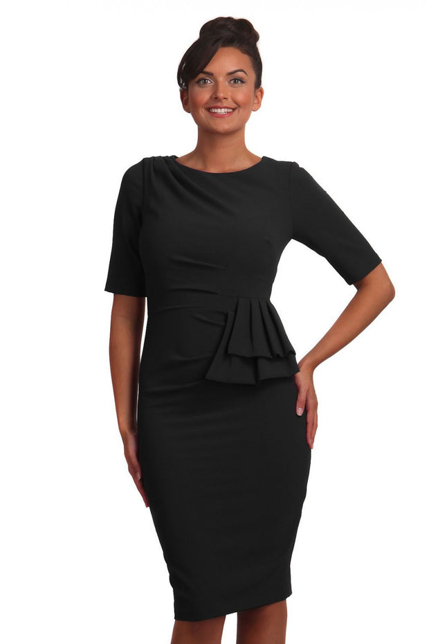 Model wearing the Diva Lynette dress in pencil dress design in black front image