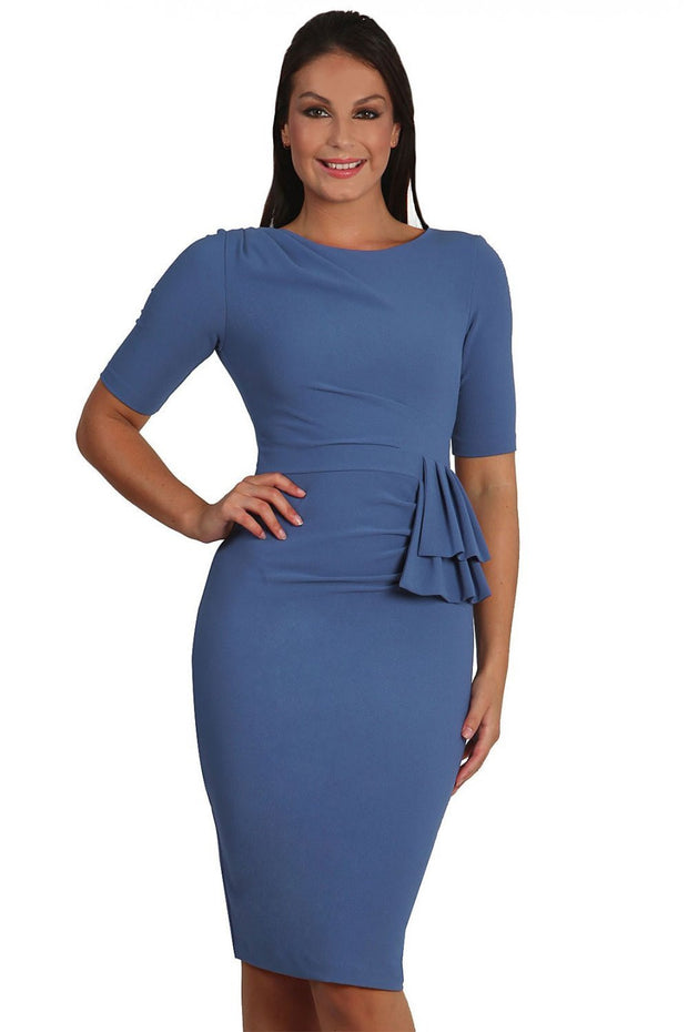 Model wearing the Diva Lynette dress in pencil dress design in dutch blue front image