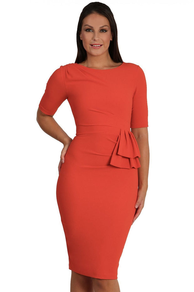 Model wearing the Diva Lynette dress in pencil dress design in fiesta orange front image