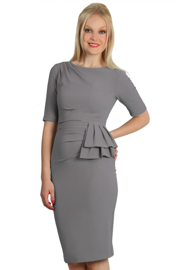 Model wearing the Diva Lynette dress in pencil dress design in frost grey front image
