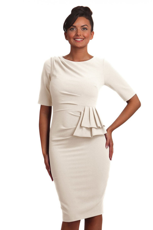 Model wearing the Diva Lynette dress in pencil dress design in ivory cream front image