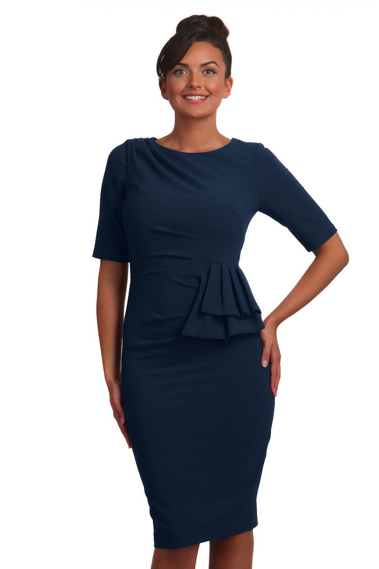 Model wearing the Diva Lynette dress in pencil dress design in navy front image