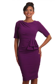 Model wearing the Diva Lynette dress in pencil dress design in royal purple front image
