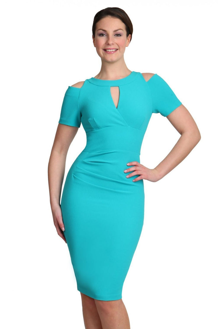 model wearing diva catwalk ruth pencil skirt dress with a keyhole cut in rounded neckline and cold shoulder detail in celestial blue colour front