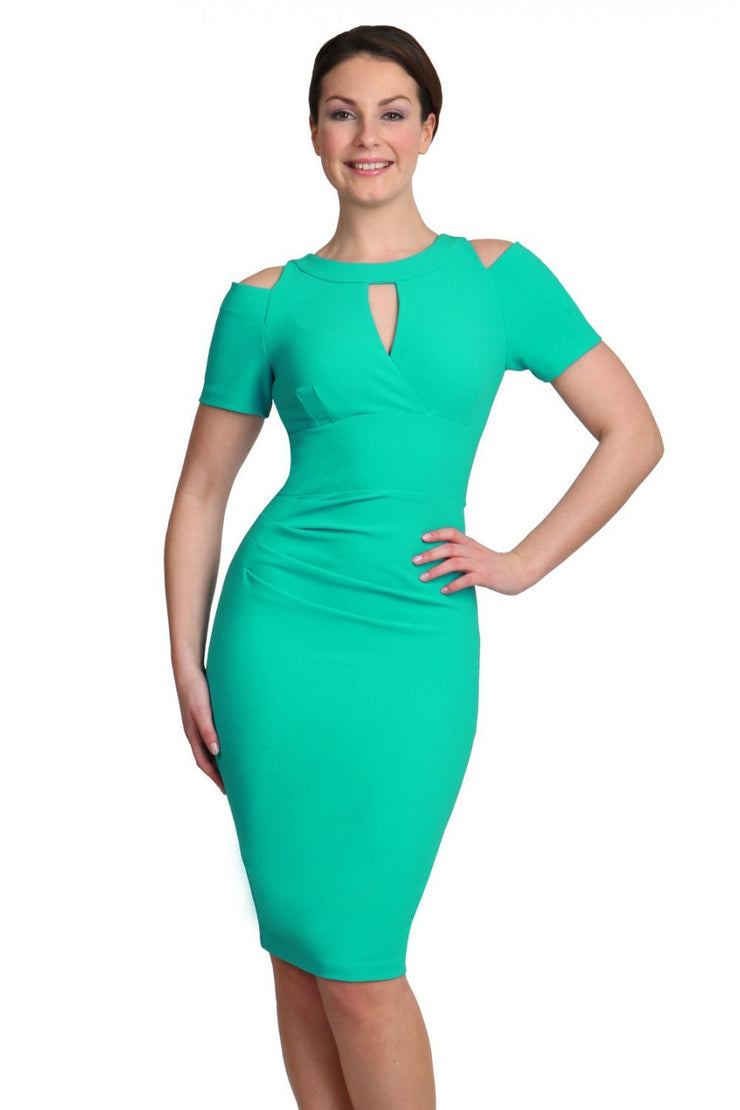 model wearing diva catwalk ruth pencil skirt dress with a keyhole cut in rounded neckline and cold shoulder detail in jade green colour front